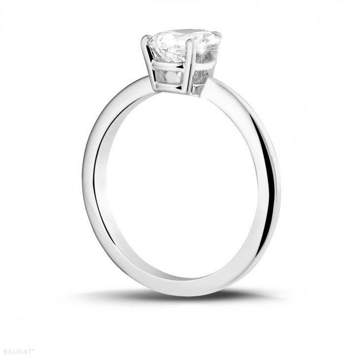 1.50 カラットのペアーシェイプのダイヤモンド付きホワイトゴールドソリテールリング