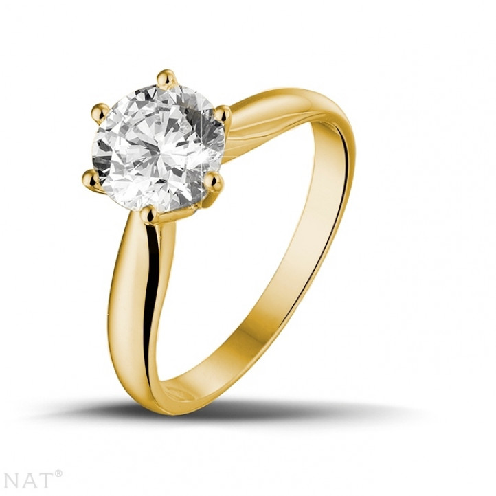 1.50 カラットのイエローゴールドソリテールダイヤモンドリング