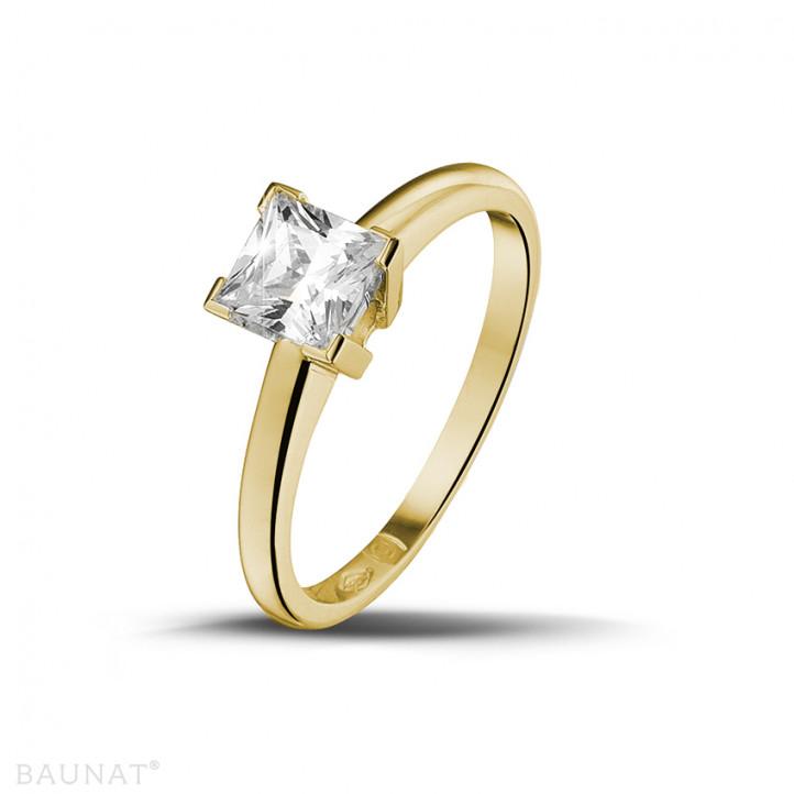 0.75 カラットのプリンセスダイヤモンド付きイエローゴールドソリテールリング