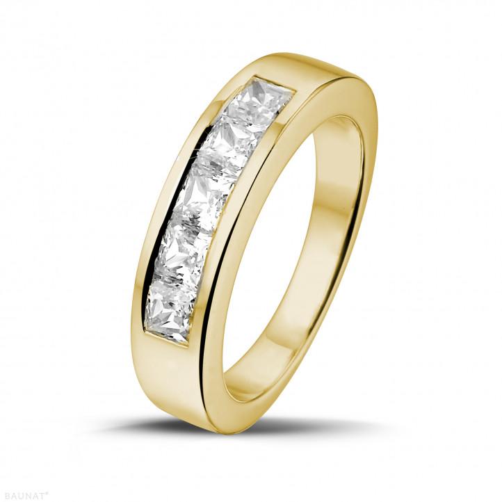 1.35 カラットのプリンセスダイヤモンド付きイエローゴールドエタニティリング