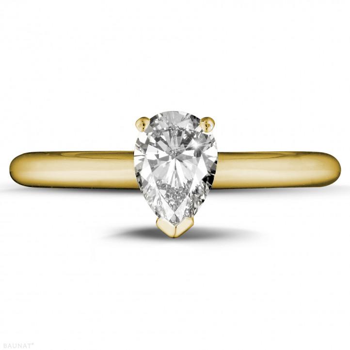 1.00 カラットのペアーシェイプのダイヤモンド付きイエローゴールドソリテールリング