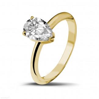 - 1.50 カラットのペアーシェイプのダイヤモンド付きイエローゴールドソリテールリング