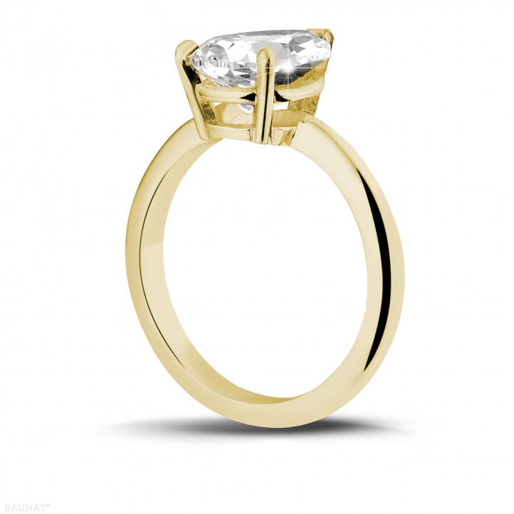 2.00 カラットのペアーシェイプのダイヤモンド付きイエローゴールドソリテールリング