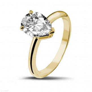 イエローゴールドダイヤモンドリング - 2.00 カラットのペアーシェイプのダイヤモンド付きイエローゴールドソリテールリング