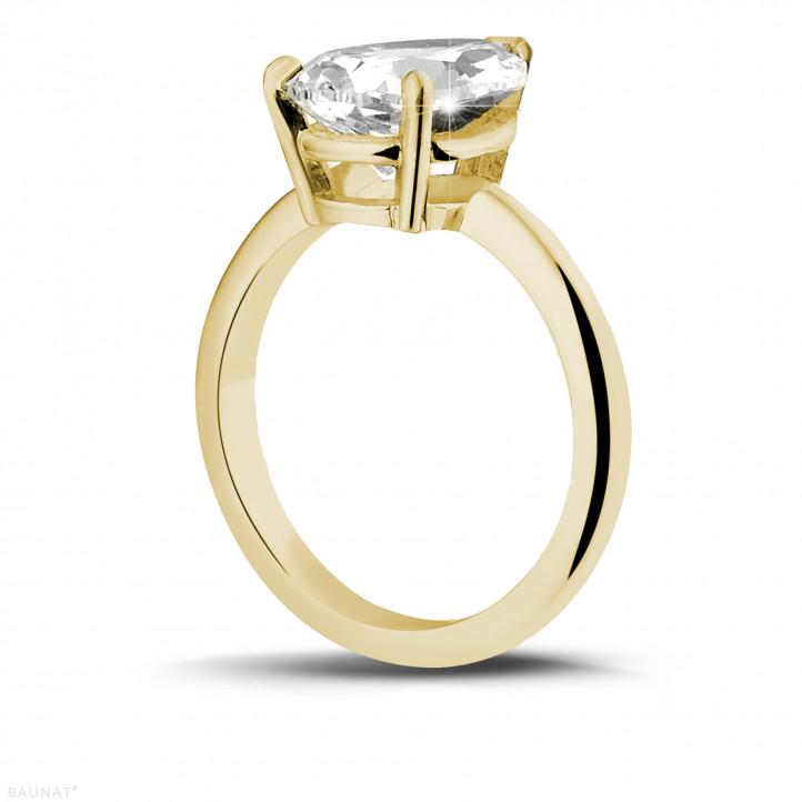 3.00 カラットのペアーシェイプのダイヤモンド付きイエローゴールドソリテールリング