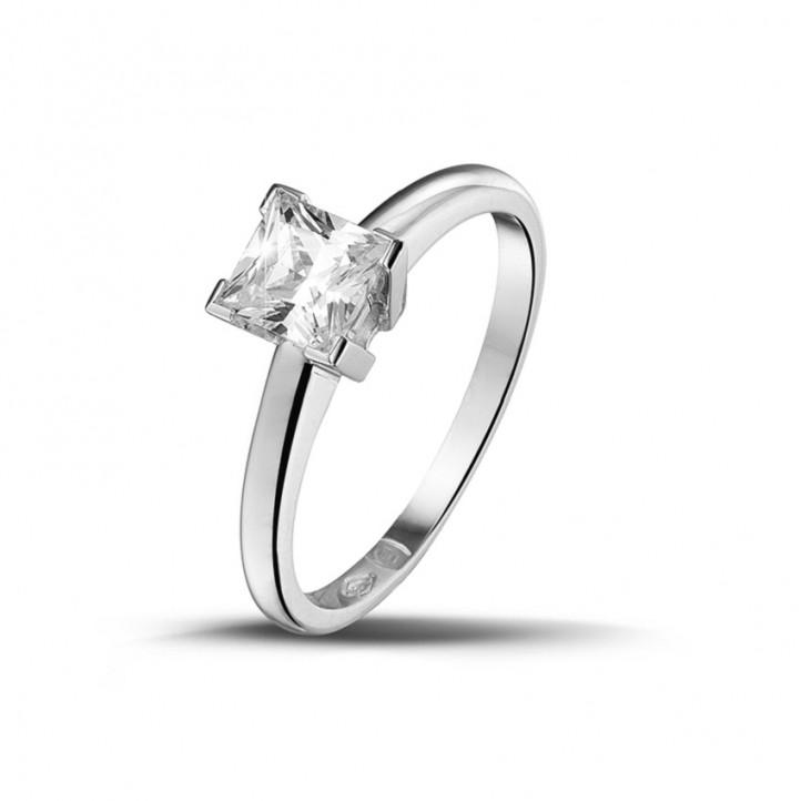 0.75 カラットのプリンセスダイヤモンド付きプラチナソリテールリング