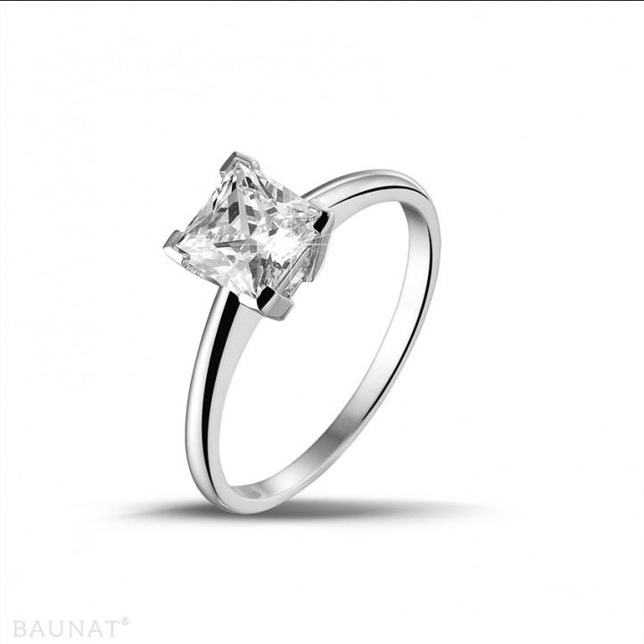 1.25 カラットのプリンセスダイヤモンド付きプラチナソリテールリング