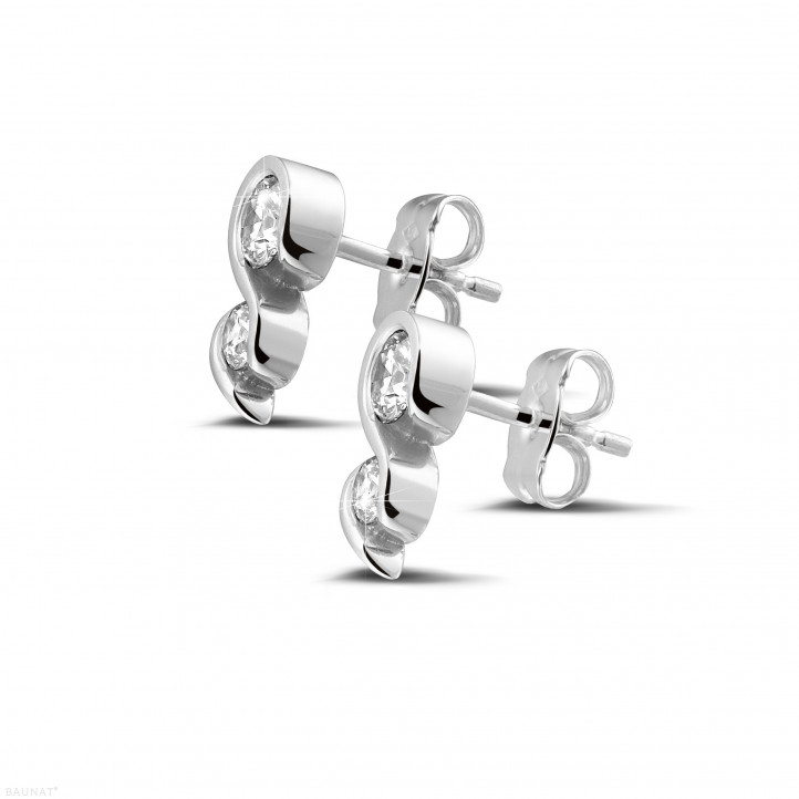 0.70 カラットのホワイトゴールドダイヤモンドイヤリング