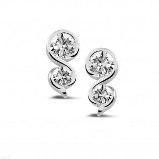 イヤリング - 1.00 カラットのホワイトゴールドダイヤモンドイヤリング