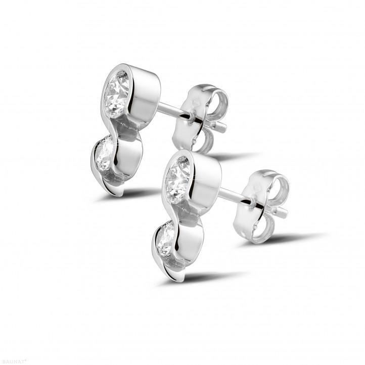 1.00 カラットのホワイトゴールドダイヤモンドイヤリング