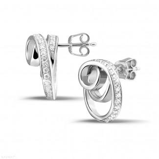 イヤリング - 1.30 カラットのホワイトゴールドダイヤモンドデザインイヤリング
