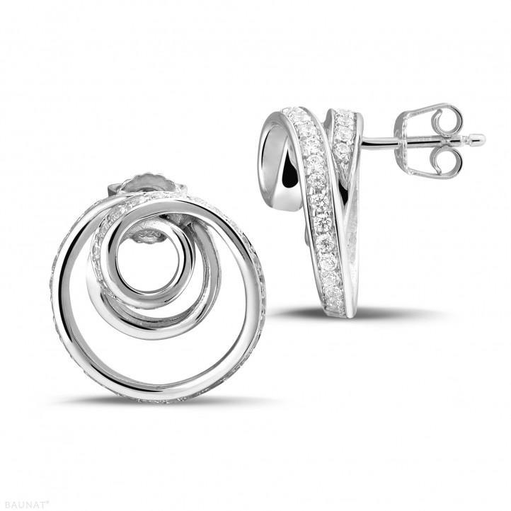 1.30 カラットのホワイトゴールドダイヤモンドデザインイヤリング