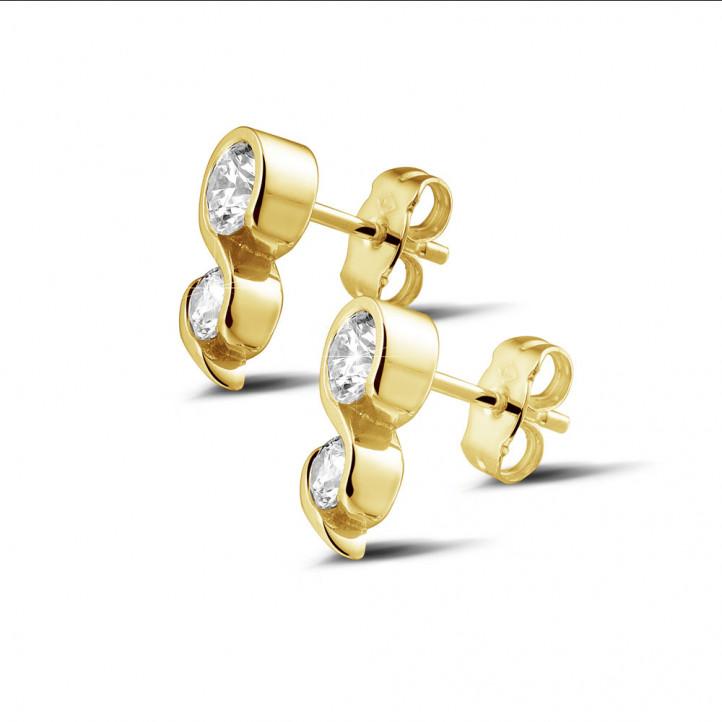 1.00 カラットのイエローゴールドダイヤモンドイヤリング