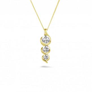 ネックレス - 0.85 カラットのイエローゴールドトリロジーダイヤモンドペンダント
