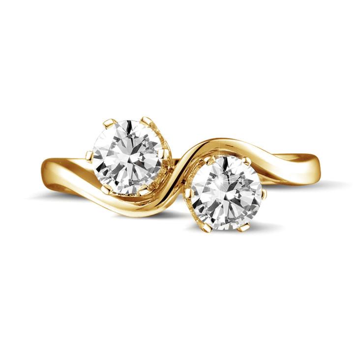1.00 カラットのイエローゴールドダイヤモンド「トワエモア」デザインリング