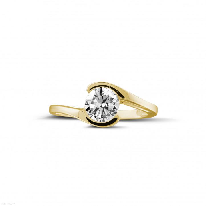 1.00 カラットのイエローゴールドソリテールダイヤモンドリング