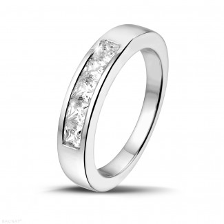 プラチナダイヤモンドリング - 0.75 カラットのプリンセスダイヤモンド付きプラチナエタニティリング
