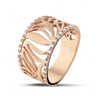 ピンクゴールドダイヤモンドリング - 0.17 カラットのピンクゴールドダイヤモンドデザインリング