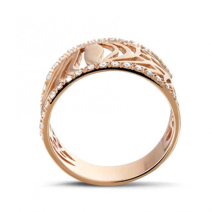 0.17 カラットのピンクゴールドダイヤモンドデザインリング