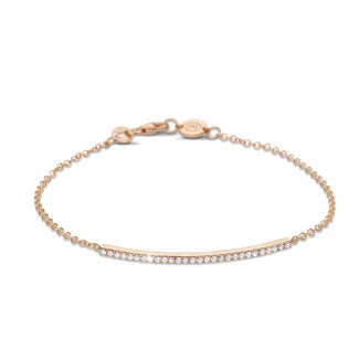 ブレスレット - 0.25 カラットのピンクゴールド細いダイヤモンドブレスレット