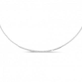 ネックレス - 0.30 カラットのホワイトゴールド細いダイヤモンドネックレス