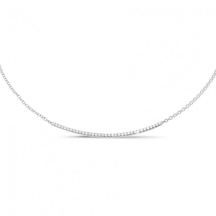 0.30 カラットのホワイトゴールド細いダイヤモンドネックレス