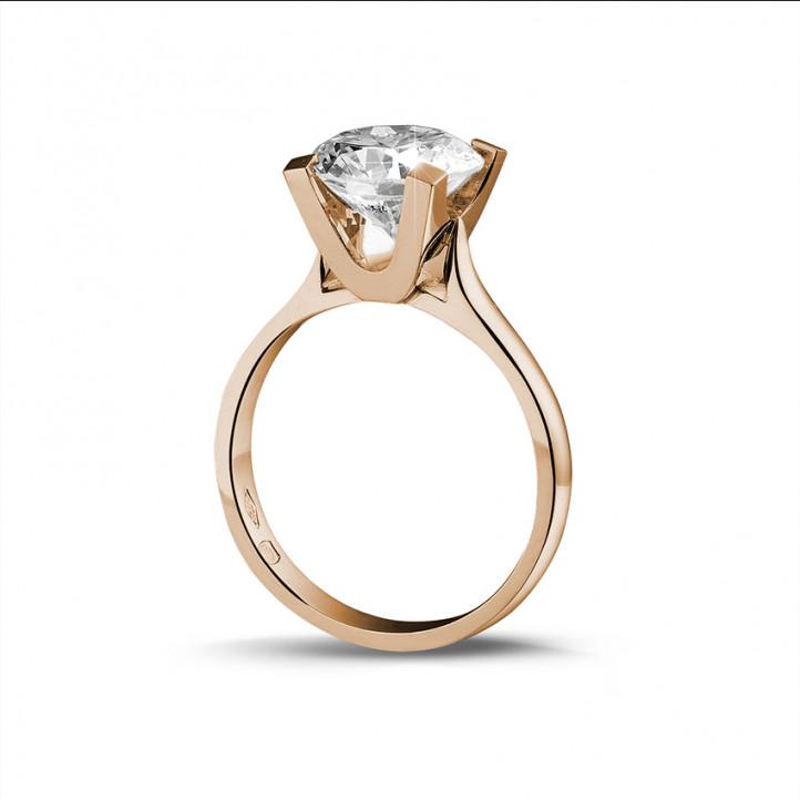 3.00 カラットのピンクゴールドソリテールダイヤモンドリング