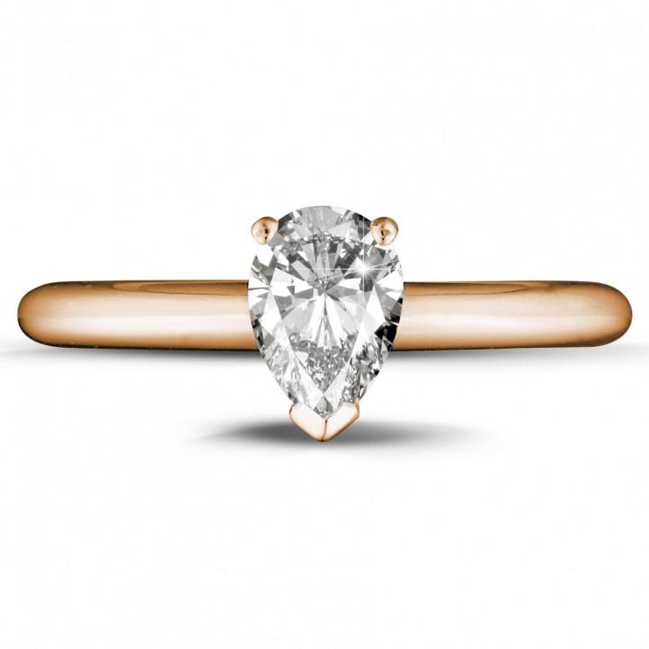 1.00 カラットのペアーシェイプのダイヤモンド付きピンクゴールドソリテールリング