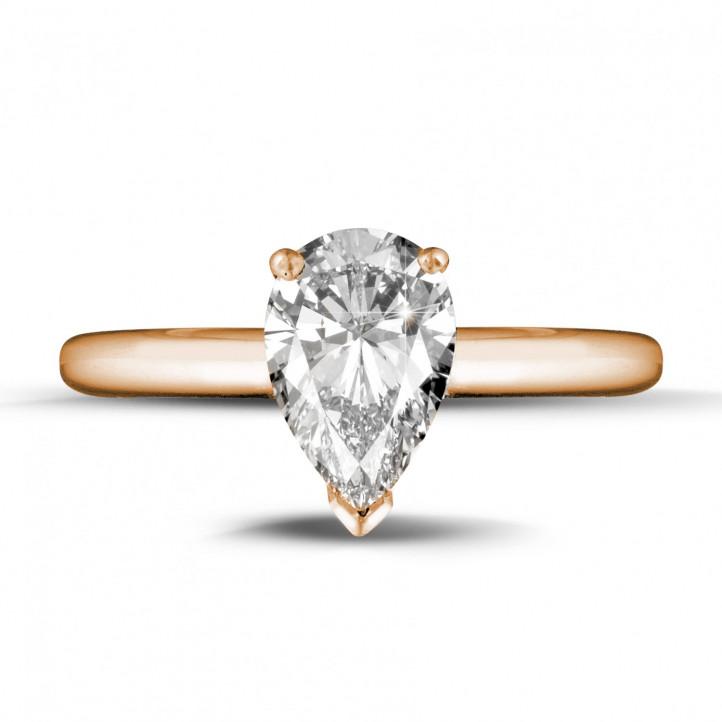 1.50 カラットのペアーシェイプのダイヤモンド付きピンクゴールドソリテールリング