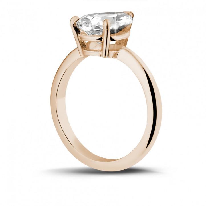 2.00 カラットのペアーシェイプのダイヤモンド付きピンクゴールドソリテールリング