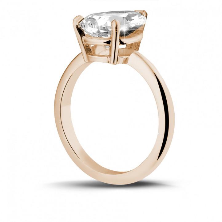 3.00 カラットのペアーシェイプのダイヤモンド付きピンクゴールドソリテールリング