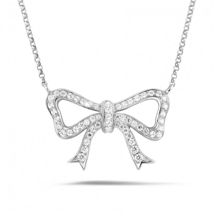 ダイヤモンドリボン付きホワイトゴールドネックレス