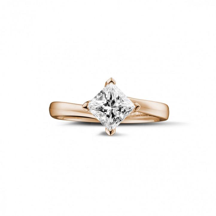 1.25 カラットのプリンセスダイヤモンド付きピンクゴールドソリテールリング