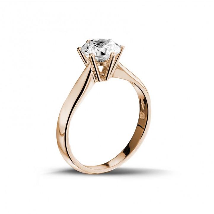 1.25 カラットのピンクゴールドソリテールダイヤモンドリング