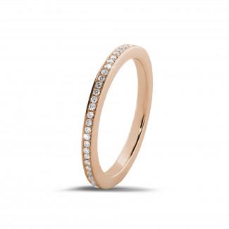 ピンクゴールドのダイヤモンド結婚指輪 - 0.22 カラットのピンクゴールドダイヤモンドエタニティリング (フルセット)