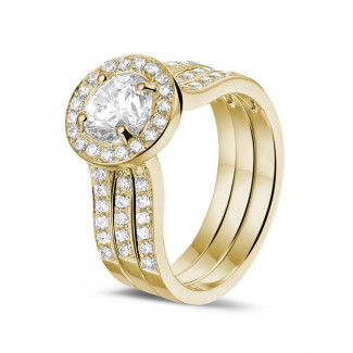 イエローゴールドダイヤモンドエンゲージリング - 1.00 カラットのサイドダイヤモンド付きイエローゴールドソリテールダイヤモンドリング
