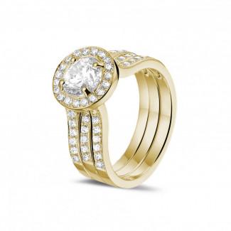 エンゲージリング - 1.00 カラットのサイドダイヤモンド付きイエローゴールドソリテールダイヤモンドリング
