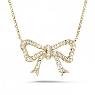 ダイヤモンドネックレス - ダイヤモンドリボン付きイエローゴールドネックレス