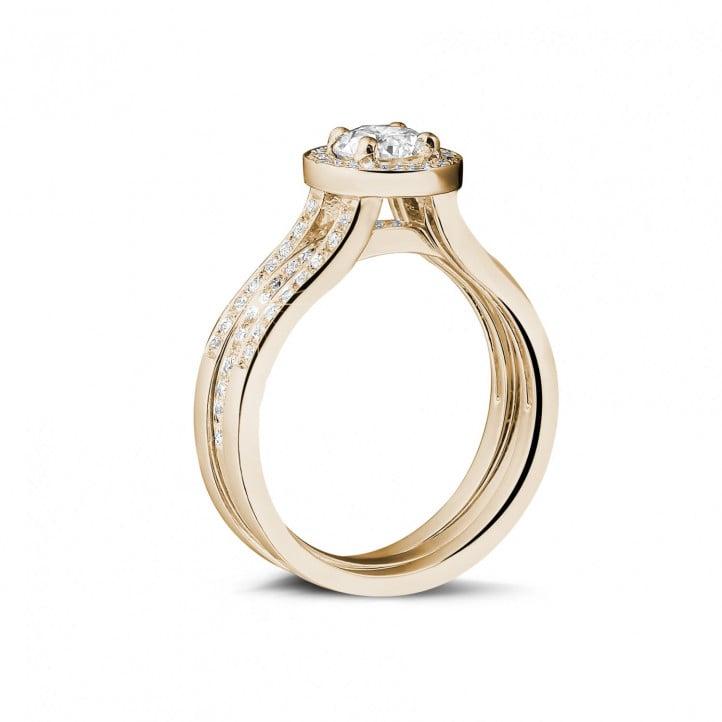 0.50 カラットのサイドダイヤモンド付きピンクゴールドソリテールダイヤモンドリング