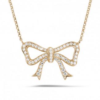 ダイヤモンドネックレス - ダイヤモンドリボン付きピンクゴールドネックレス