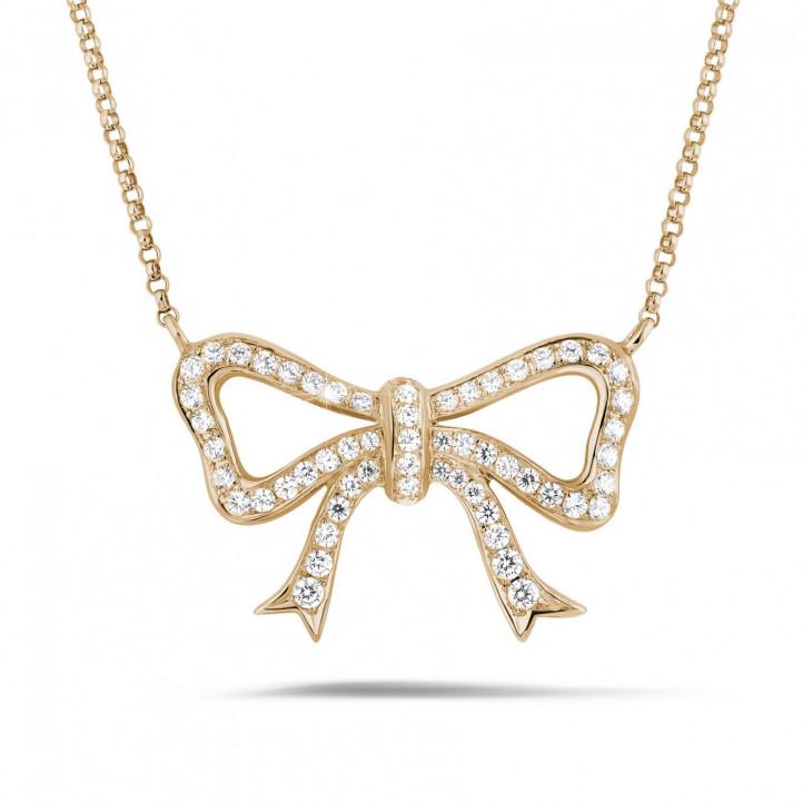 ダイヤモンドリボン付きピンクゴールドネックレス