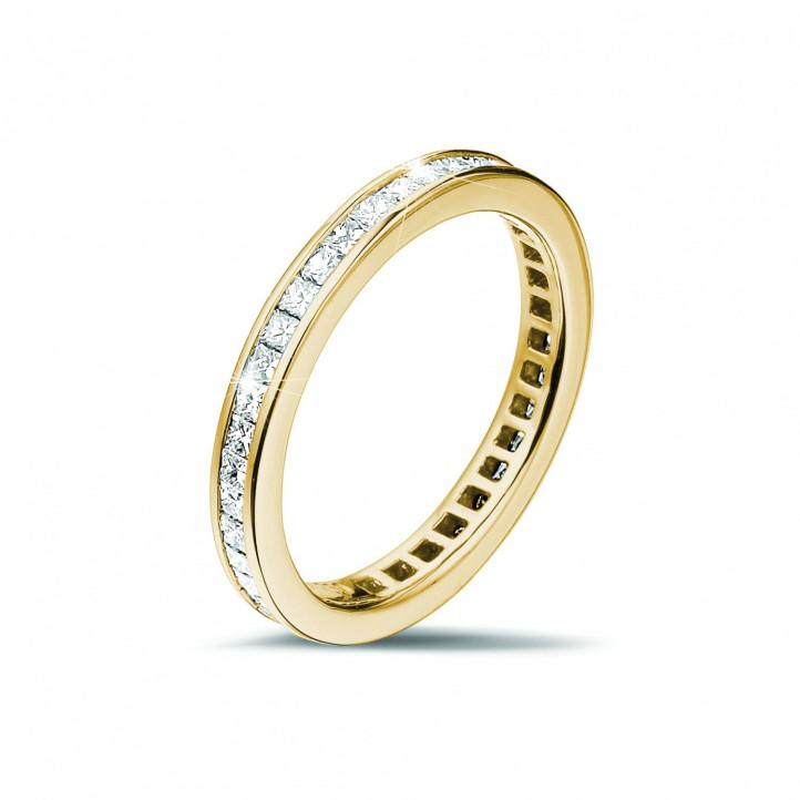 0.90 カラットの小さなプリンセスダイヤモンド付きイエローゴールドエタニティリング (フルセット)