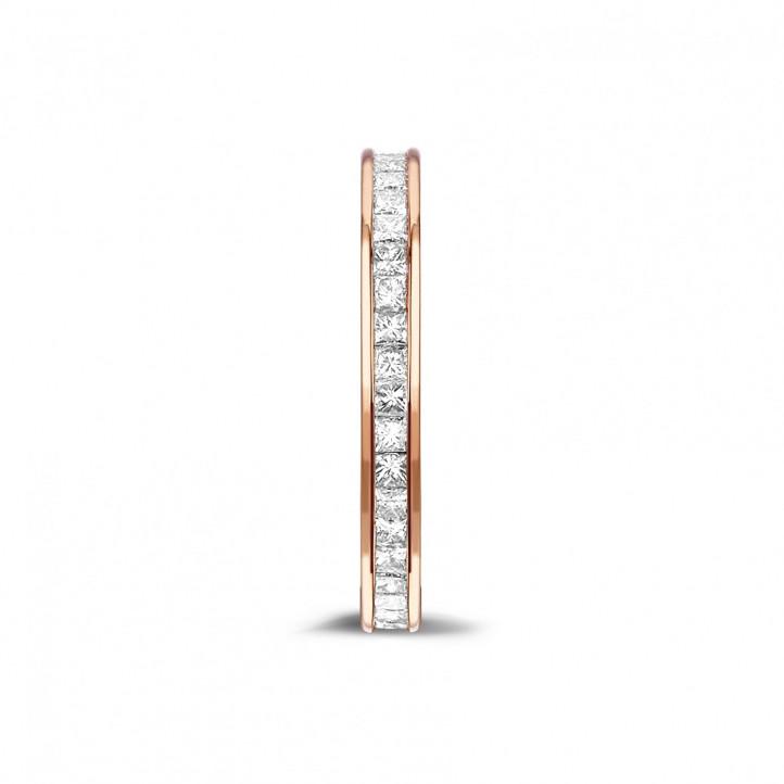 0.90 カラットの小さなプリンセスダイヤモンド付きピンクゴールドエタニティリング (フルセット)