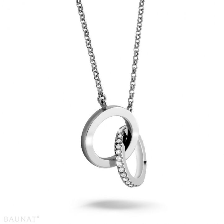 0.20 カラットのホワイトゴールドダイヤモンドインフィニティデザインネックレス