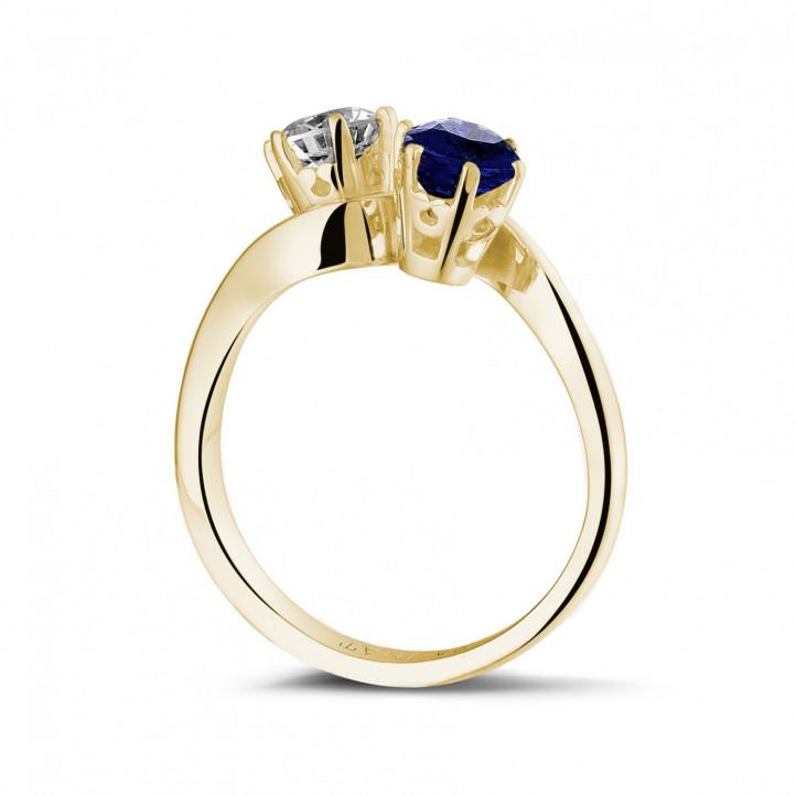 ラウンドダイヤモンドとサファイア付きイエローゴールド「トワエモア」リング