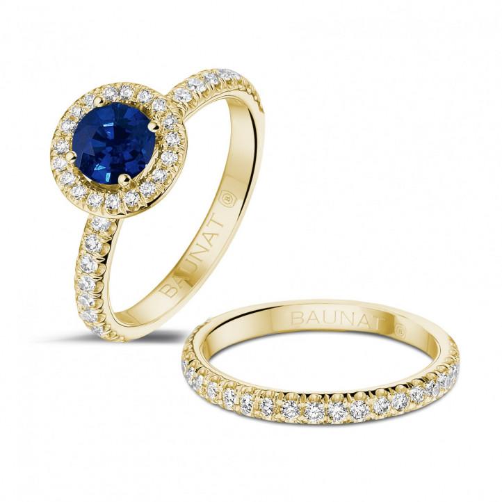 ラウンドサファイアと小さなダイヤモンド付きイエローゴールドソリテールハローリング