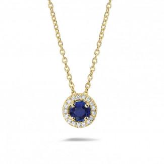 ダイヤモンドネックレス - センターサファイアとラウンドダイヤモンド付きイエローゴールドハローネックレス