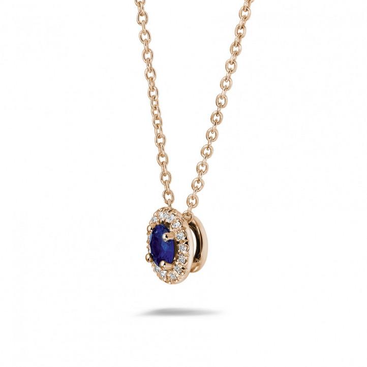 センターサファイアとラウンドダイヤモンド付きピンクゴールドハローネックレス