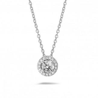 ネックレス - 0.50 カラットのホワイトゴールドダイヤモンドハローネックレス