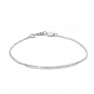 ブレスレット - 0.25 カラットのプラチナ細いダイヤモンドブレスレット